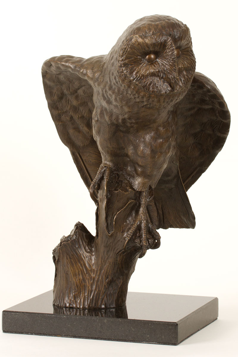 Barn owl sculpture in bronze by bill prickett