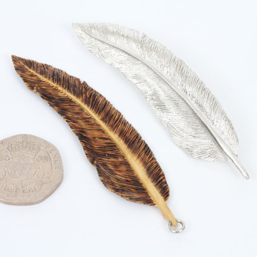 Silver Feather Brooch, Large
