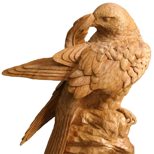 Preening Falcon, Lime. SOLD, But Can Be Commissioned.