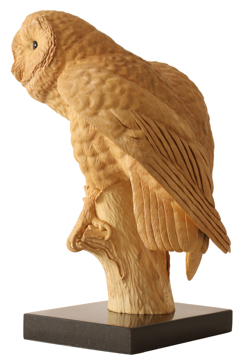 Barn owl sculpture by wildlife artist bill prickett