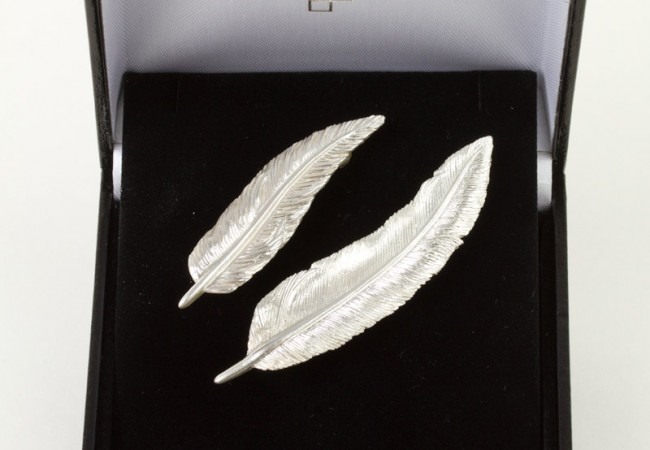 Small And Large Feather Brooch