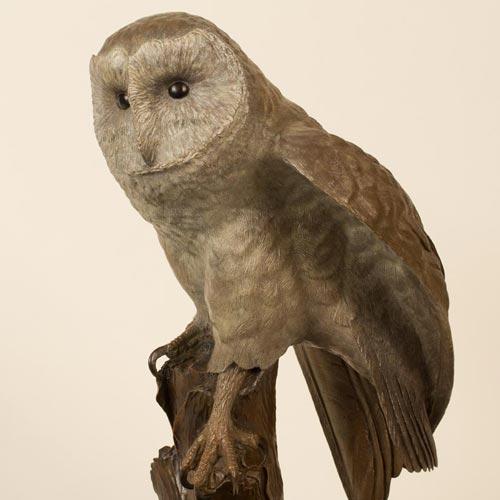 Barn Owl Sculpture Coloured Patina