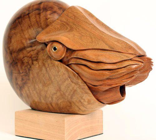 Nautilus Sculpture, Hand Carved By Bill Prickett
