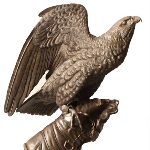 Falcon bronze by Bill Prickett