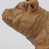 Pig Carved From Oak